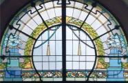 Friedrich Scheffe, 1907. Apartment building at Bazicas iela 5. Stained glass window